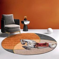 Tapis rond design contemporain - Cheval sur fond orange, jaune, rose et gris, avec traits dorés