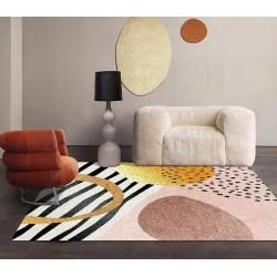 Tapis design contemporain inspiration panthère et zèbre, fond rose et or