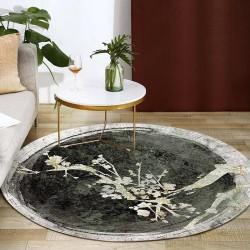 Tapis rond japonais style ancien - Arbre en floraison, couleur noir, gris et blanc