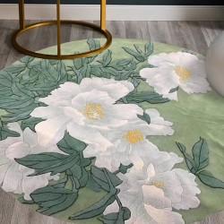 Tapis floral forme ronde - Pivoine blanche sur fond vert