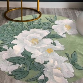 Tapis chinois forme ronde pivoine blanche sur fond vert