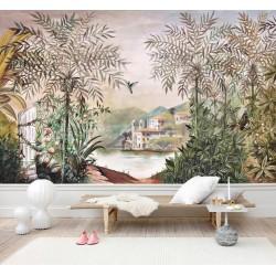 Papier peint classique issu d'un tableau de peinture - Château vue depuis la végétation
