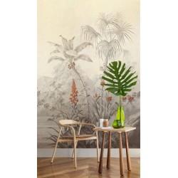 Papier peint d'artiste issu d'un tableau de peinture classique format portrait (vertical) - Forêt tropicale effet sépia