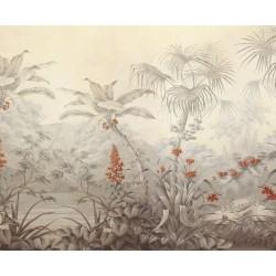 Papier peint d'artiste issu d'un tableau format paysage (horizontal) - Forêt tropicale effet sépia