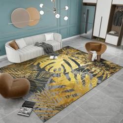 Tapis doré contemporain style tropical - Feuilles de palmier et philodendron sur fond gris