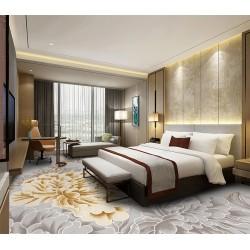 Tapis fleur chambre d'hôtel couleur gris argenté et doré