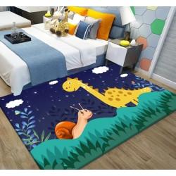 Tapis chambre enfant ton bleu et vert, version nuit  - Dinosaure et escargot