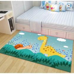 Tapis chambre bébé version jour ciel bleu clair - Dinosaure et escargot