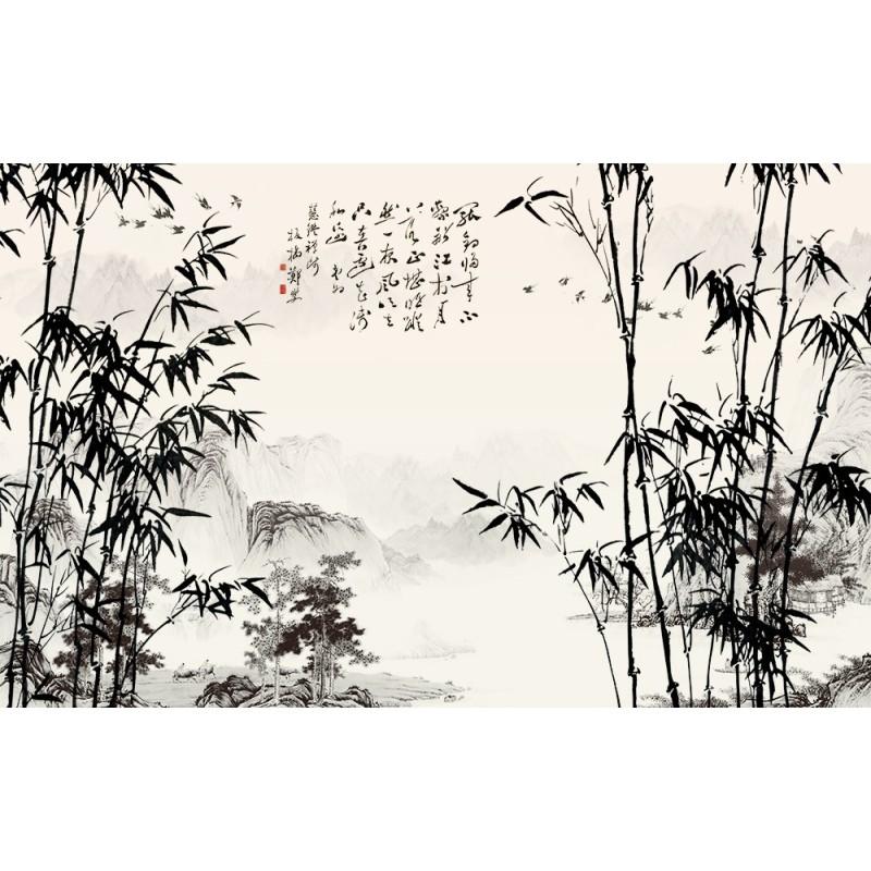papier peint paysage chinois les bambous etle po me. Black Bedroom Furniture Sets. Home Design Ideas
