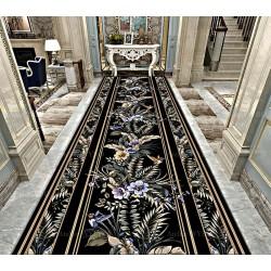 Tapis couloir format long style tropical - Fleurs et colibris sur fond noir