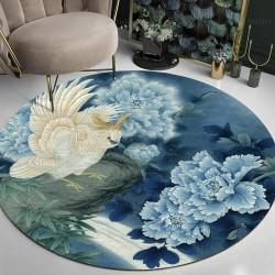 Tapis rond fleurs et osieaux ton bleu - Pivoine, bambou et perroquet dans la nuit