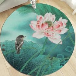 Tapis rond fleurs et osieaux ton vert - Lotus rose et oiseau d'eau