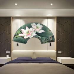 Tapis mural tête de lit en forme d'éventail - Les lotus roses
