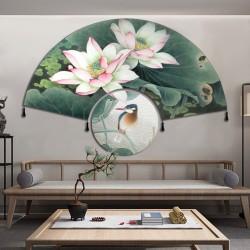 Tapis mural en forme d'éventail - Les lotus et l'oiseau, 2 pièces séparées