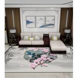 Tapis chinoiserie - Paysage et bambou niveau de gris, magnolia rose et oiseau bleu dans jardin