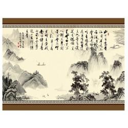 Papier peint chinois - Paysage avec calligraphie en noir et blanc
