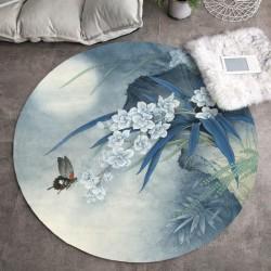 Tapis asiatique - Orchidée et papillon dans la nuit bleue, forme ronde