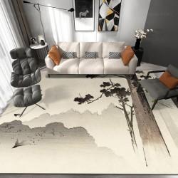 Tapis japonais beige sépia paysage de la montagne - Cloche pendant sur conifère