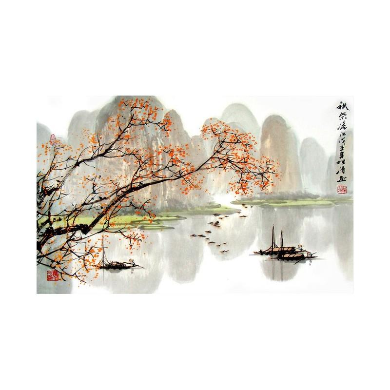 Tapisserie num rique sur mesure style chinois paysage automne papier peint sol 3d - Paysage d automne dessin ...