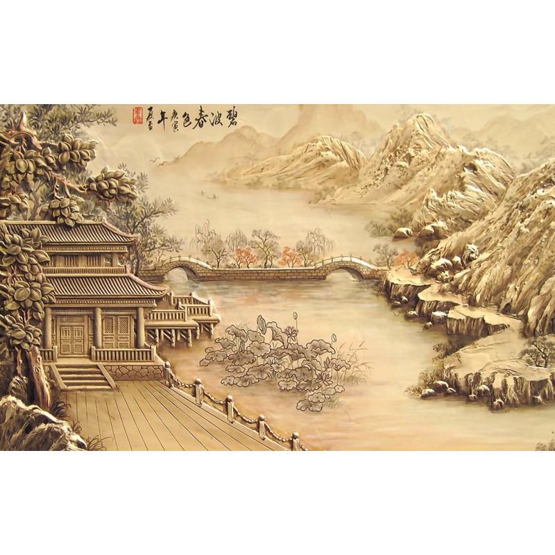 Papier peint asiatique sur mesure style chinois maison au bord de la rivi re - Peinture effet relief ...