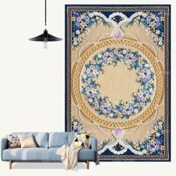 Tapis 3D fleurs violettes, perles et dentelles, fond jaune sable et bleu foncé