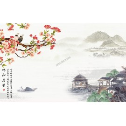 Papier peint chinois-Paysage avec les fleurs de cerisier et les oiseaux