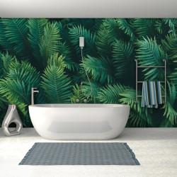 Mur végétal salle de bains tropical - Feuilles de fougère