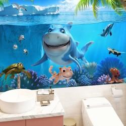 Salle de bains rigolo pour enfant - Le gentil requin et ses copains