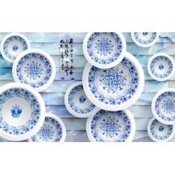 Papier peint 3D asiatique-Les assiettes en porcelaine sur jade