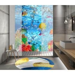 Cabine de douche effet aquarium - Les poissons tropicaux