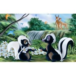Papier peint 3D chambre enfant-Les petits amoureux dans la forêt