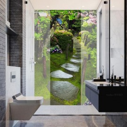 Panneau 3D effet de profondeur - Pas japonais dans jardin zen fleuri