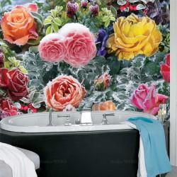 Mur floral - Jardin en floraison sous la neige de printemps