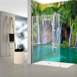 Fresque étanche paysage nature - Chute d'eau, végétation, étang turquoise