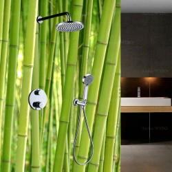 Salle de bains vert pomme motif bambou