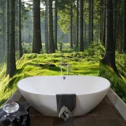 Salle de bains paysage nature - Forêt ensoleillée effet de profondeur, extension d'espace