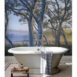 Lambris PVC décoratif grande largeur cabine de douche - Arbres dans la savane