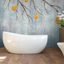 Panneau de douche abstrait - Gouttes d'eau et l'arbre d'automne