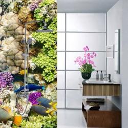 Cabine de douche colorée - Univers fond marin poissons et coraux tropicaux