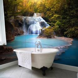 Crédence salle de bains grand format - Cascade et l'étang turquoise dans la forêt rocheuse