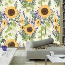 Papier peint floral couleur jaune et violet design campagne - Tournesol, romarin et lavande