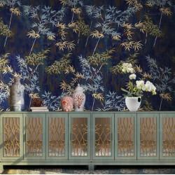 Tapisserie vintage asiatique aspect ancien - Bambous sur fond bleu foncé