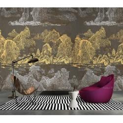 Panneau chinoiserie doré et argenté - Paysage de la montagne et rivière