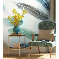 Papier peint plume art moderne couleur légère