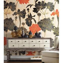 Papier peint floral style campagne effet sépia - Pivoine, dahlia, cosmos et iris