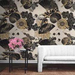 Papier peint traditionnel japonais aspect ancien - Eventail, ombrelle, lotus, pivoine et cerisier
