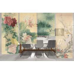 Séparation légère séjour salle à manger - Pivoine, lotus, aigrette, bambou, perroquet cacatoès