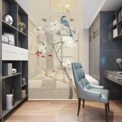 Décor zen séparation légère entrée, séjour, chambre - Magnolia blanc et oiseau bleu, fond beige