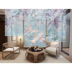 Cloison japonaise fleurs et oiseaux ton bleu - Couple de Phénix dans jardin exotique