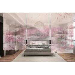 Rideau rose romantique cloison amovible décorative - Forêt de pêcher dans la colline